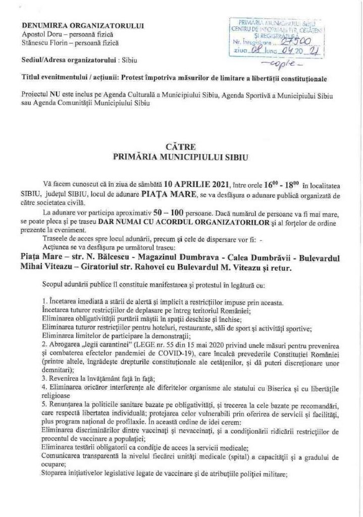 Protest sâmbătă 10 aprilie, la Sibiu. AVIZAT!